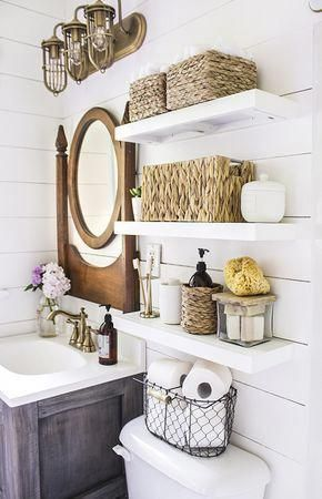 How to make narrow floating shelves perfect for a bathroom above a toilet and fo…   – Bathroom shelves