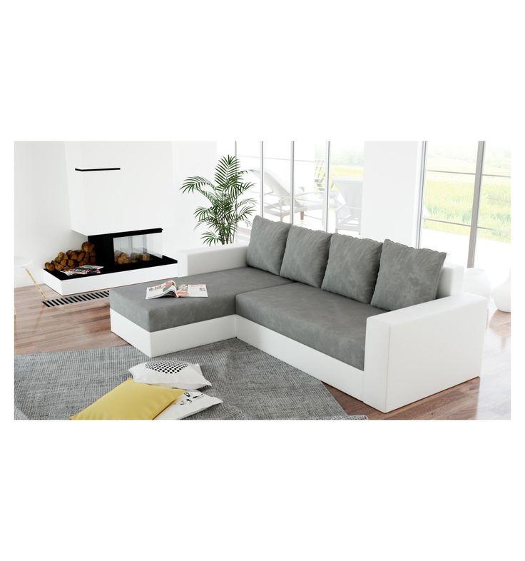 Canapé d'angle réversible convertible en simili cuir coloris gris et blanc
