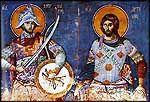Sts Merkourios et Arsenios, Karyes, Protaton.  Fresque par Manuel Panselinos, 14 c.