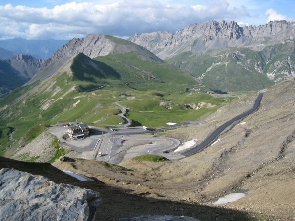 Top of Col du Galibier looking towards the Lautauret side.  High and sunny.