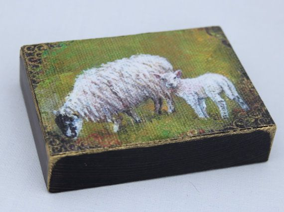 Mother and lamb Aceo wood block, Easter gift, Folk art lamb portrait. Mother's Day, Rustic wood art, Aceo sheep Hand Finished miniature