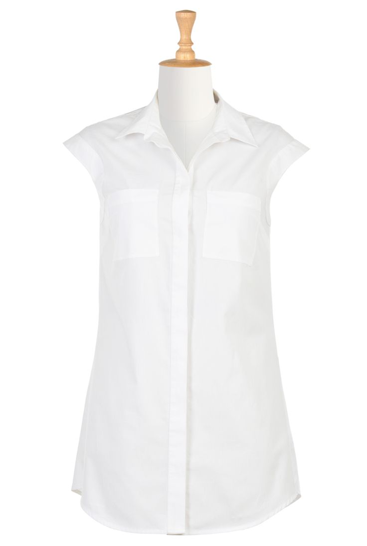 Cap Sleeve Cotton Poplin Shirtdress, Cotton Poplin Mid-Thigh Length Dresses Women's designer clothing - Women's Blouses - Ladies Going Out Tops, Plus Going Out Tops, Halter Tops - CL0036016 | eShakti