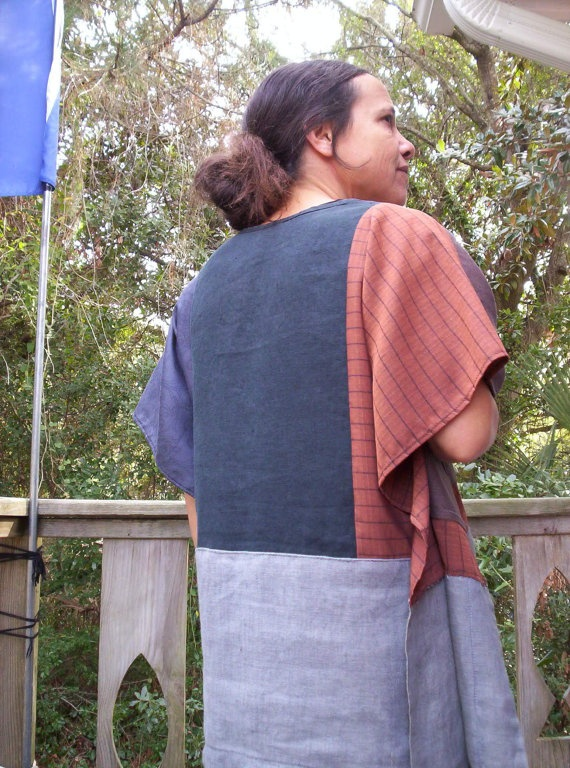 UPCYCLED PATCHWORK TUNIC Dashiki Shirt Black Grey by PoorCouture, $34.00