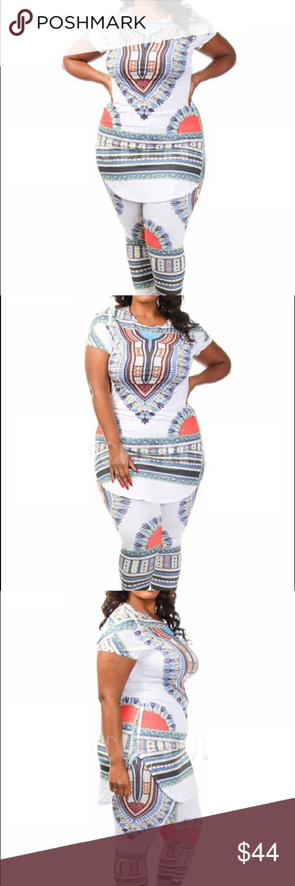 NWT Plus Size Dashiki Print Leggings and Top Set 95% Polyester 5% Spandex. Made in USA. Model wearing 3X. Fits true to size. Pants Leggings