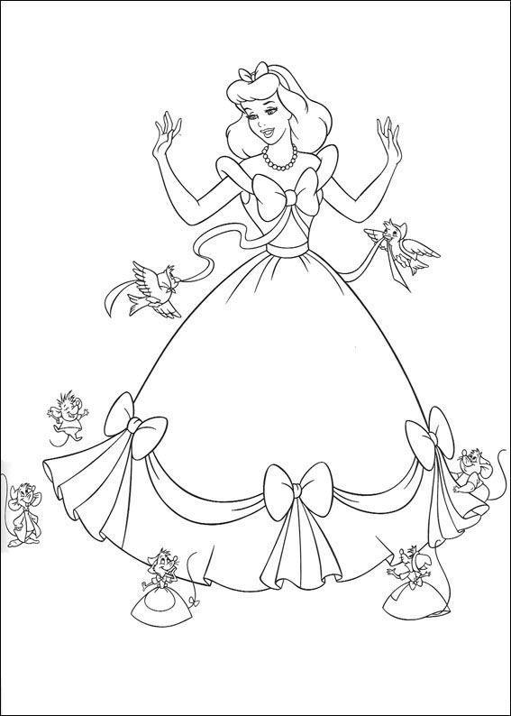kleurplaat Assepoester - Assepoesters jurk is af