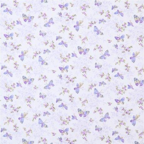 light purple Robert Kaufman fabric butterfly insect flower Lady Elizabeth