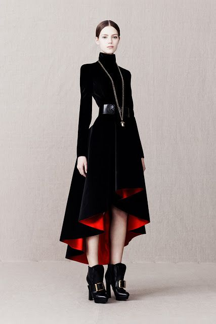 "Alexander McQueen Pre-Fall 2013 ""I design clothes because I don't want women to look all innocent and naïve…I want woman to look stronger…I don't like women to be taken advantage of…I don't like men whistling at women in the street. I think they deserve more respect. I like men to keep their distance from women, I like men to be stunned by an entrance. I've seen a woman get nearly beaten to death by her husband. I know what misogyny is … I want people to be afraid of the women I dress."""