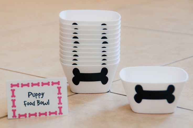 Food Bowls with bone chalkboard contact paper for kiddos' names (I'll be filling with either Coco Puffs or Reese's Peanut Butter Cereal to look like dog food)