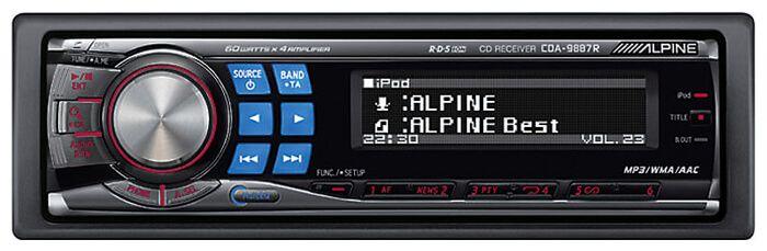 #Alpine CDA-9887R    5490.00    #автомагнитола 1 DIN CD-проигрыватель макс. мощность 4 x 60 Вт поддержка iPod радиоприемник с RDS Подробные характеристики  Состав  Радиоприемник есть, цифровой тюнер CD-проигрыватель есть MP3-проигрыватель есть Усилитель есть Эквалайзер есть  Пиковая мощность 4x60 Вт Типоразмер 1 DIN Поддержка iPod/iPhoneесть  Форматы CD-Audio, MP3, WMA, AAC Носители CD-R, CD-RW  Инфракрасный пультесть Пауза при разговоре по телефону есть Автопоиск…
