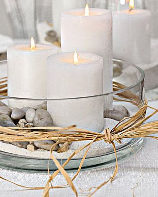 Easy Centerpiece - use white candles, silver glitter and colored ball ornaments of various sizes