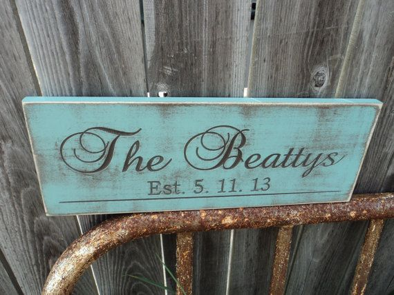Personalized Family Name Established Sign by Timberlinewoodworks, $28.00
