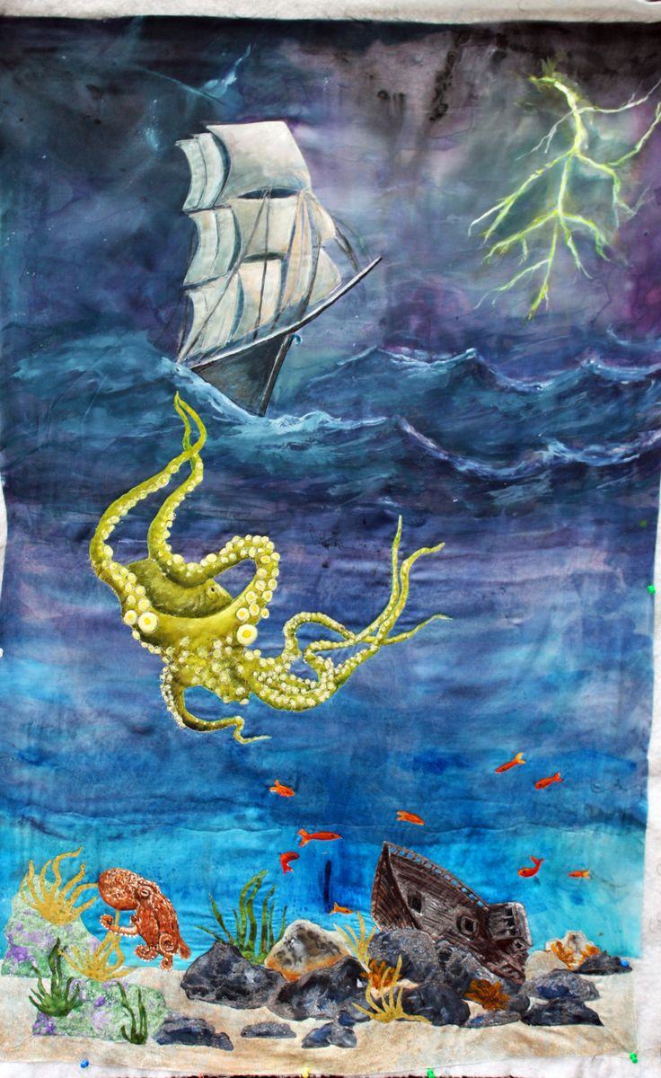 The Kraken art quilt by Barbara Harms