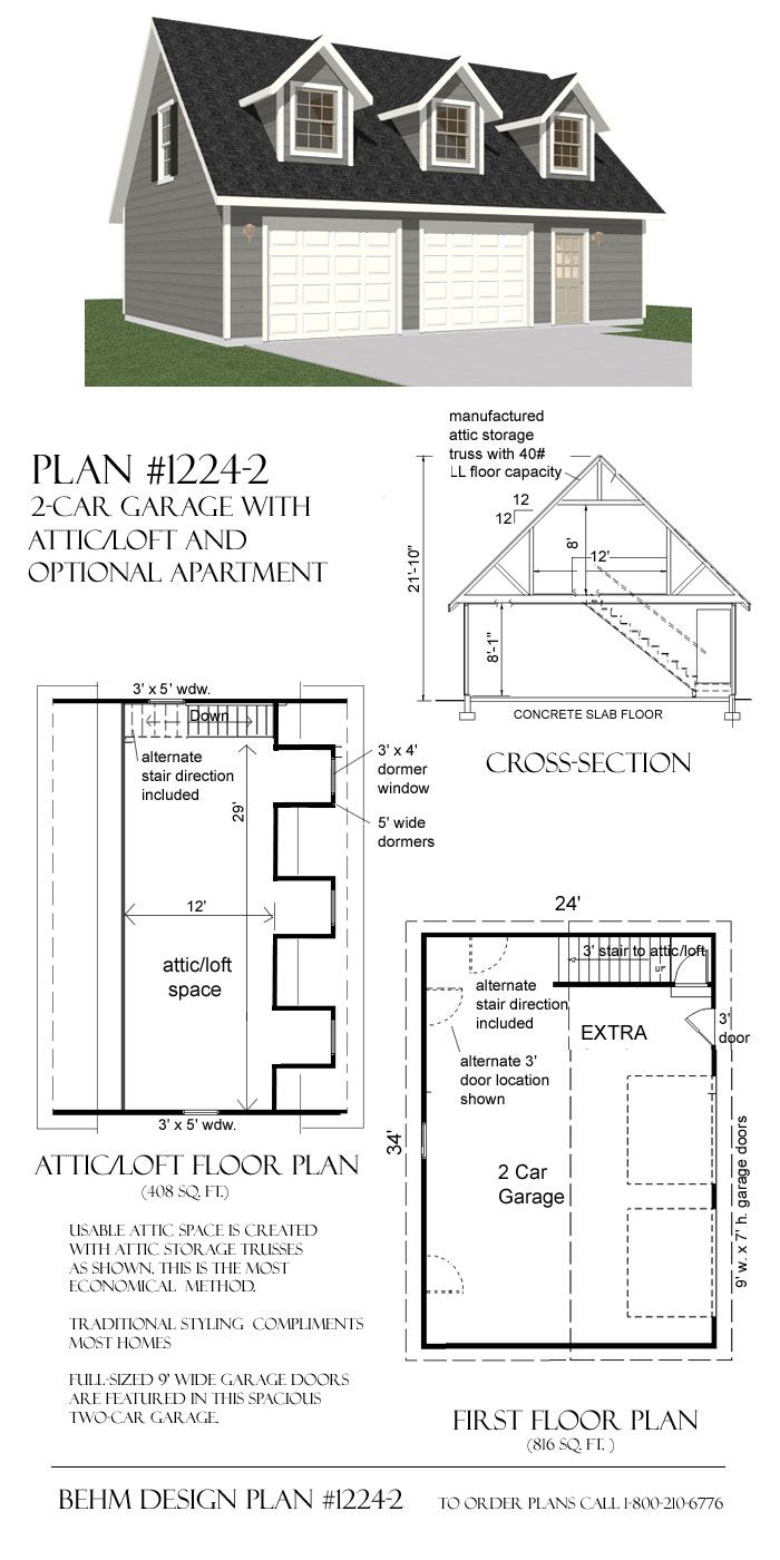 2 car garage plans with loft - 34 X 24 Garage With Loft Plan By Behm Design Uses Attic Trusses To