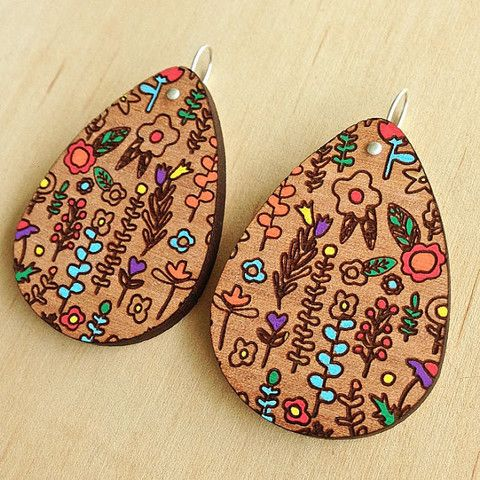 Each To Own In My Garden Wooden Drop Earrings