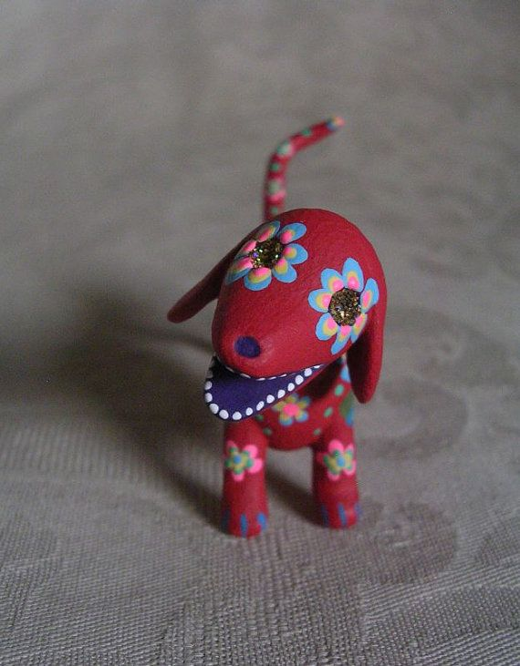 Miniature Day of the Dead Art Sugar Skull Red Dachshund Dog Skeleton Animal