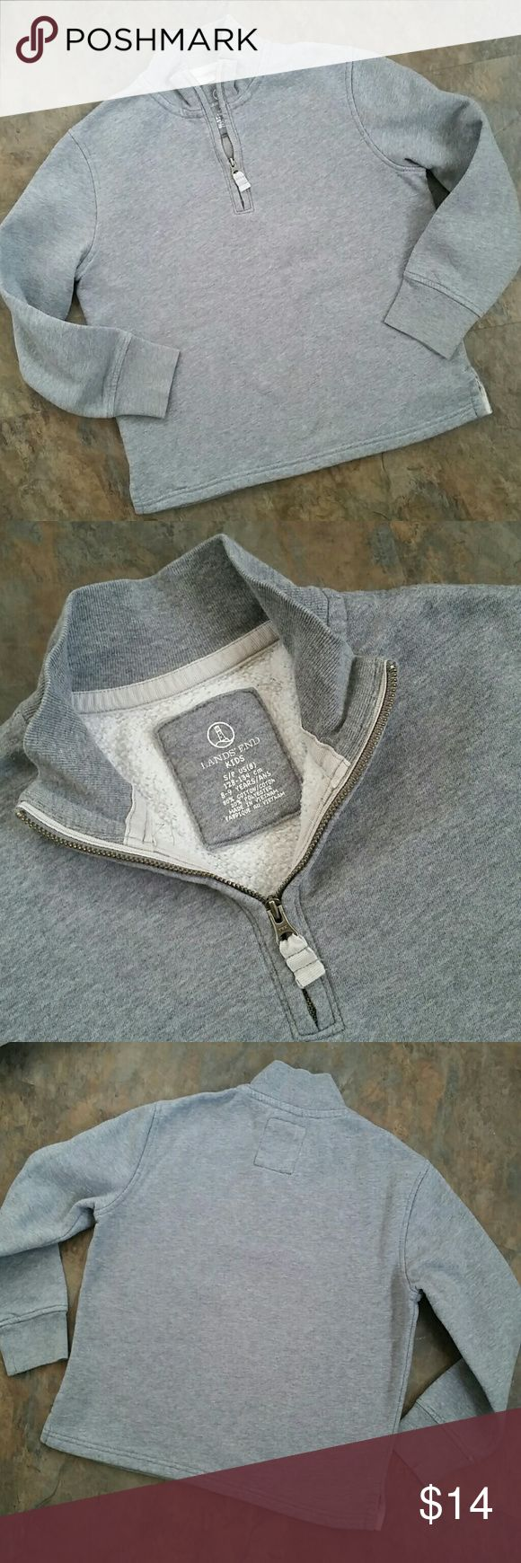 HOST PICK!! Size 7/8 Lands' End Size 7/8 (Small) boys' mock-neck sweatshirt. * Made by Lands' End.  In excellent condition. No holes, stains, or marks at all. Only the slightest signs of wash or wear. * Tag says size 8, but it runs just a little short so I am listing it as size 7/8.  * Stand-up neck with quarter-zip. Neat banded cuffs. French rib fabric on collar. * 80% cotton/20% polyester. Soft and cozy. * 17 inches wide, armpit to armpit; 19 inches long (see last pic).  ** Price is firm…
