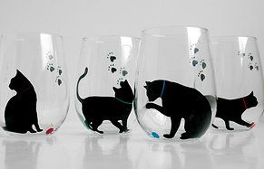 Cat and Yarn Stemless Wine Glasses - Set of 2 Hand Painted Black Cat Glasses…