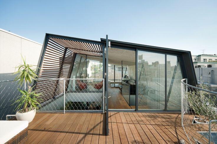 dakopbouw, hout, glas, japan, herenhuis, sky court, Keji Ashizawa - Het Skycourt huis in Japan - Wonen Voor Mannen