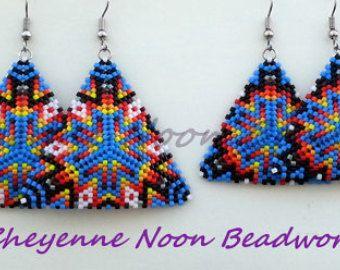 Native American Beaded Earrings Rainbow by CheyenneNoon on Etsy