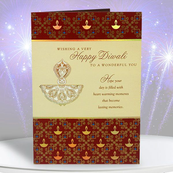 Happy Diwali Cards Wishing A Very Happy Diwali  heart warming moments lasting memories. May your heart and home be blessed with the comfort of familiar Diwali joys and traditions, and the hope and promies of the wonderful days ahead. Hope your day is filled with everything that makes you happy, as you've always had a special way of bringing happiness to others. length : 15 cm Height : 23 cm. Rs 80 : http://hallmarkcards.co.in/collections/diwali-greetings/products/happy-diwali-cards