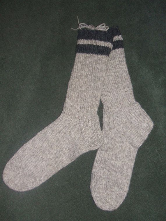 Men's women's  wool boot socks-Handknit Thick Medium by soxylady