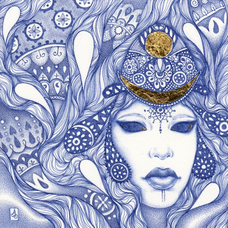 """""""Lemuria"""" Blue ink and gold leaf drawing by Alice Savage"""