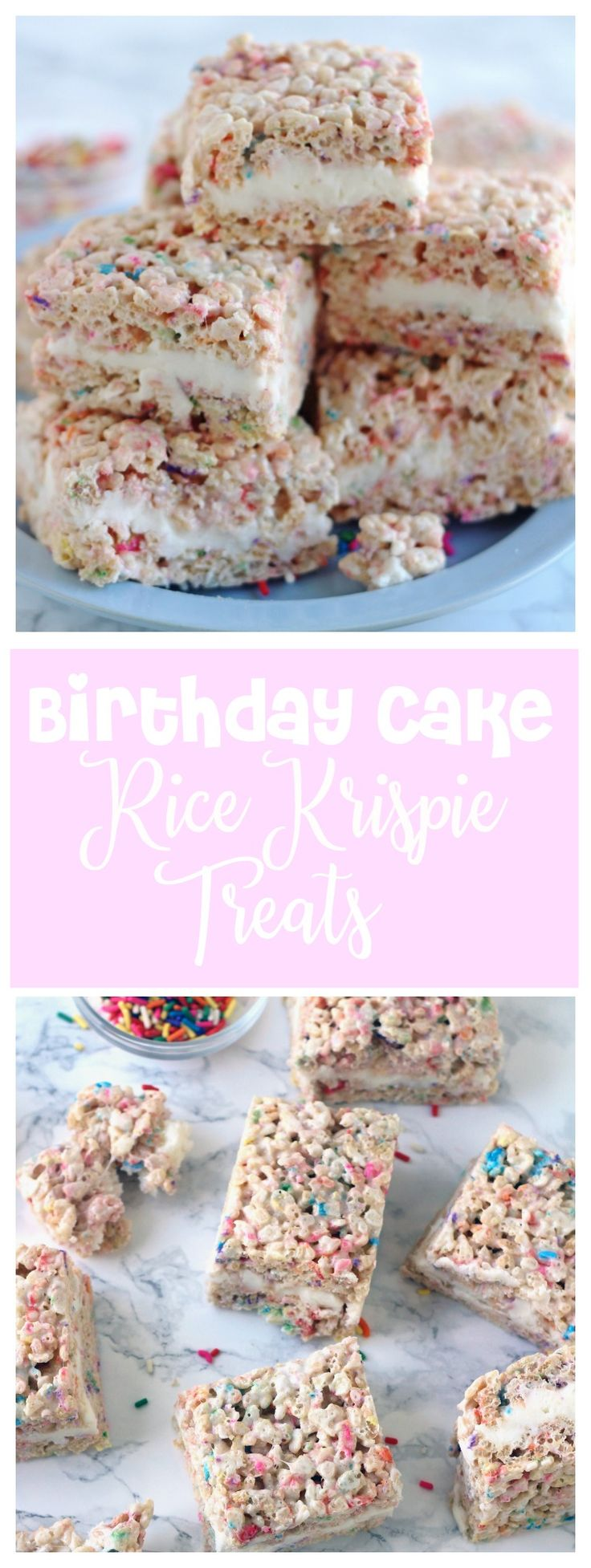 t's Rice Krispie Treats meets birthday cake and it just doesn't get any better. These Birthday Cake Rice Krispie Treats are ridiculously good. You won't be able to eat just one!