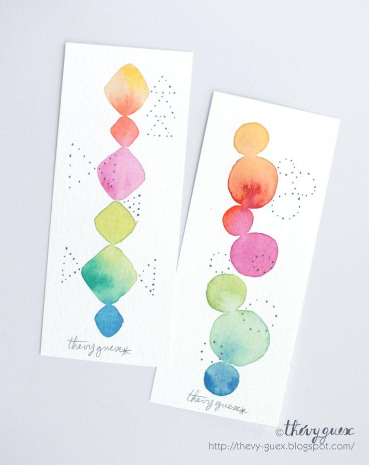 Marque Pages Peinture Aquarelle Originale Losange Cercle Géométrique Abstrait Pastel Multicolore Arc en Ciel/Ensemble de 2 Marque Pages : Marque-pages par thevy-guex