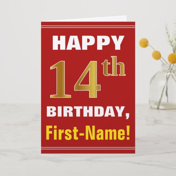 Bold Red Faux Gold 14th Birthday W Name Card Fourteenth
