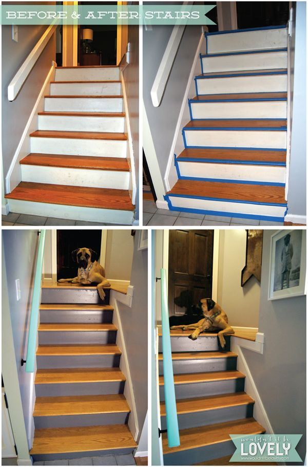 Best Diy Stair And Railing Redo Painted Grey And Aqua Stair 400 x 300