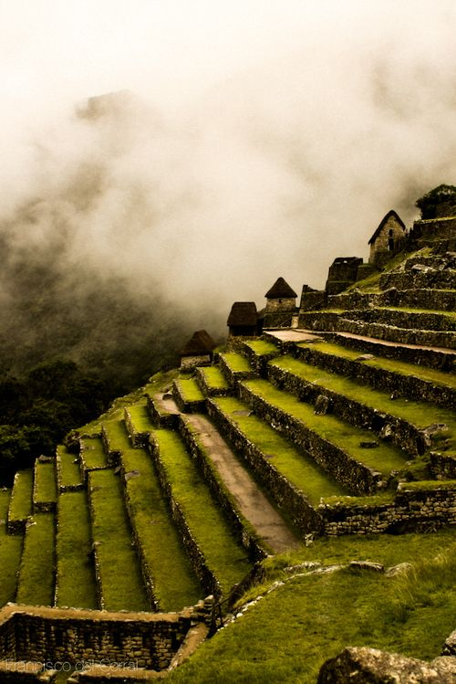 "I have to go here - Machu picchu side terraces by Francisco Del Corral      It is unlike any place on earth - mystical, magical, a space between Heaven and Earth.  Known as the ""Lost City of the Incas"", it's history is filled with intrigue and mystery.  The people of Peru are wonderul with a quiet calmness and pride in everything they do."