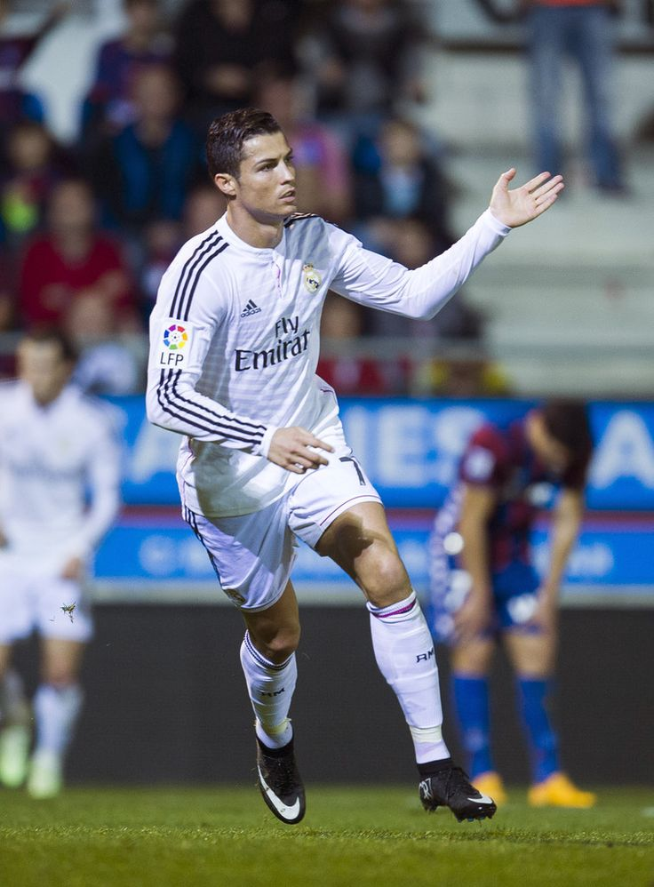 Cristiano Ronaldo of Real Madrid celebrates after scoring during the La Liga match between SD Eibar and Real Madrid CF at Ipurua Municipal Stadium on November 22, 2014 in Eibar, Spain.