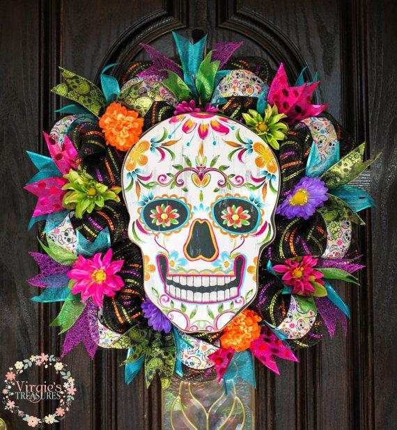 Day of the Dead Wreath Dia de Los Muertos by VirgiesTreasures