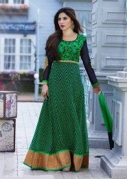 Casual Wear  Georgette Green Embroidered Work Anarkali Suit