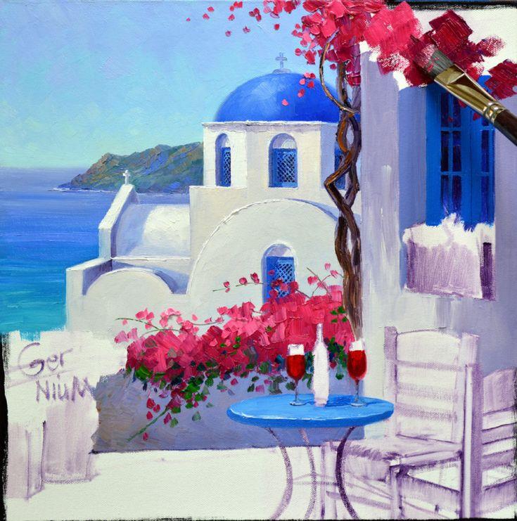 рисунок греция гуашью панорамном