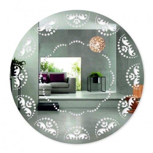 Okrúhle nalepovacie zrkadlo s ornamentom