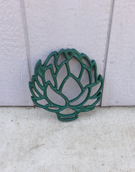 all cast iron trivets images  | Vintage Rustic Green Enameled Cast Iron Artichoke ... | All Choked Up