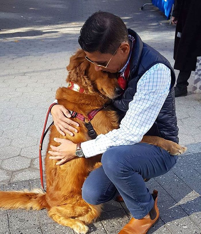 """If you're in need of a hug this Valentine's Day, you better head to Chelsea in New York City, where you can meet Louboutina, the NYC's celebrity hugging dog with more than 58k followers on her Instagram account. The Golden Retriever, who is named after a French shoe designer, spends around 2 hours a day hugging people she meets on her walk. It's just not a regular walk, her owner, 45-year-old Fernandez-Chavez, told The Dodo. It's a walk with hugging. He adds: """"A lot of people say she's made…"""
