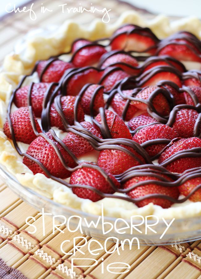 Strawberry Cream Pie!  1 cooked pie crust Cook according to pie crust directions. My favorite is Pillsbury brand  1 cup heavy whipping cream  8 oz cream cheese softened  1/3 cup sugar  1/2 tsp. vanilla or almond extract  18-20 strawberries cut in halves  1 Tbsp. shortening or oil  1/2 cup milk chocolate chips