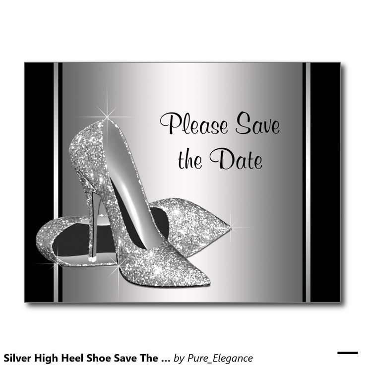 Silver High Heel Shoe Save The Date Announcement Postcard