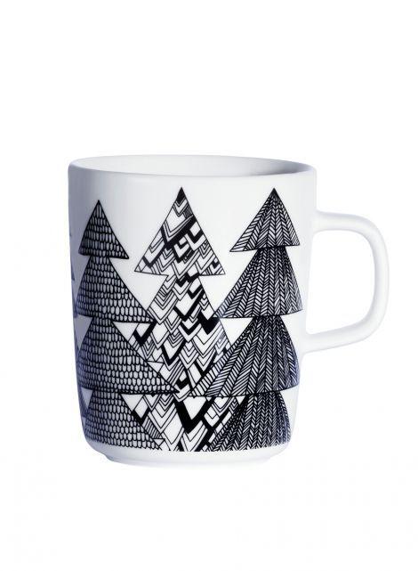 Oiva/Kuusikossa mug (white, black) |Décor, Kitchen & Dining, Dinnerware, Kupit ja mukit | Marimekko