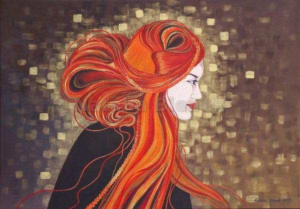 Digital picture,Fine art,Original Painting,The girl with red hair,Klimt style,Portrait,Inspired by Klimt,Gold,Art Deco,Art Nouveau by BienekArt on Etsy