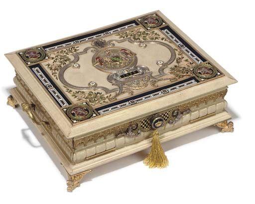 AN AUSTRIAN ORMOLU, SILVER AND ENAMEL-MOUNTED CREAM SHAGREEN-COVERED CASKET $ 11,778