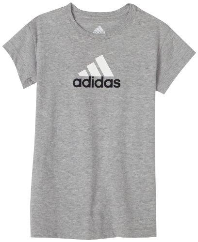 adidas Girls Logo Tee Ii,Medium Grey Heather/White/Dark Navy,X-Large. From #adidas. Price: $16.00