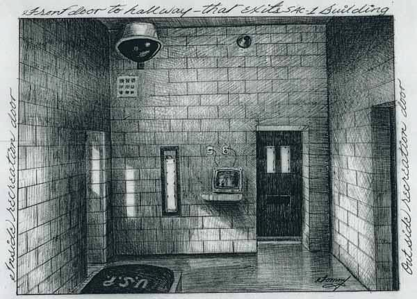 Drawing of remote underground cell (also known as the Silverstein Suite) at Leavenworth in Kansas, by Thomas Silverstein #solitaryconfinement #humanrights
