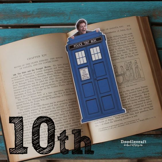 David Tennant Peeking Time Lord Bookmark--10th Day of Doctor Who! Laminated Bookmark with the Tardis!