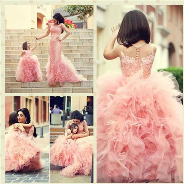 >> Click to Buy << 2017 New Arrival Ball Gown Bow Sash Beaded Appliques Tulle Pink Flower Girl Dresses Baby Pageant Dress Princess Dress for Girls #Affiliate