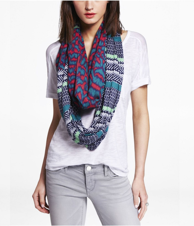 MULTI PRINT INFINITY SCARF Express How to wear scarves