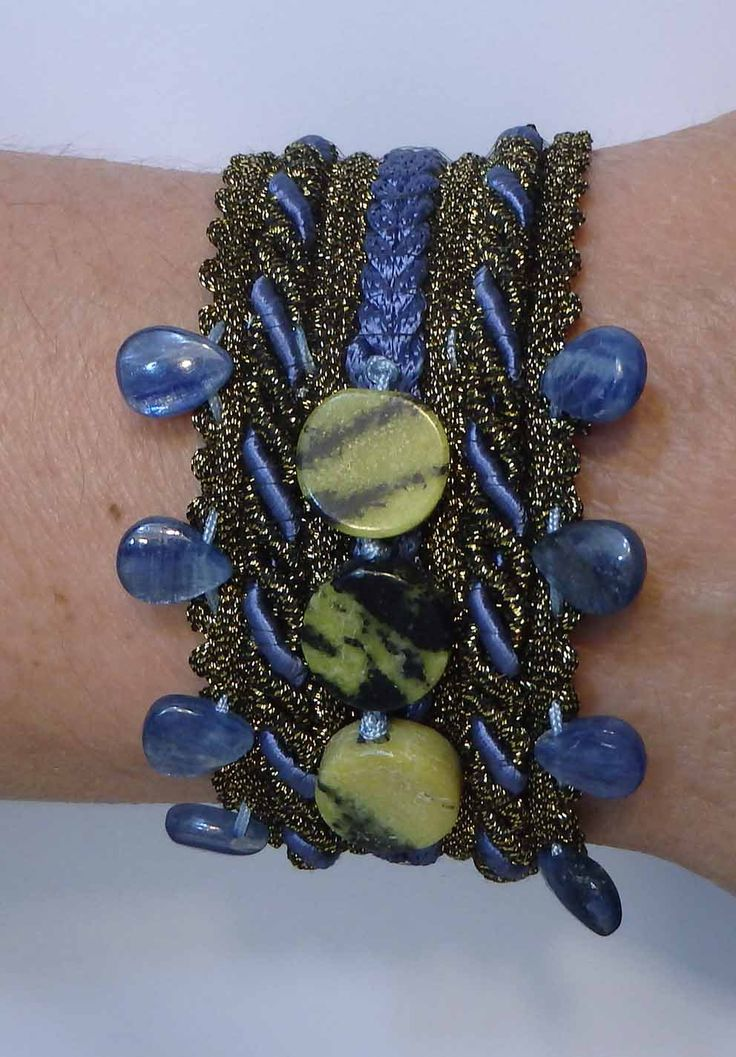 Braid Cuff with Kyanite briolette stone and green black jade Anker charm and metal button by SofiannasBracelets on Etsy