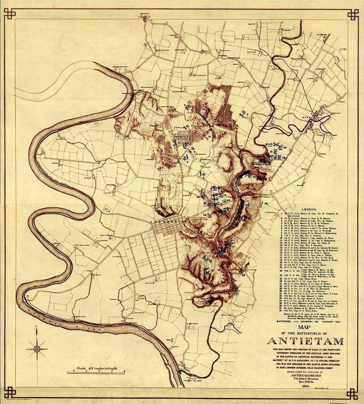 Civil War Map Battlefield Of Antietam 1862